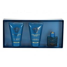 Versace Eros, rinkinys tualetinis vanduo vyrams, (EDT 5ml + 25ml dušo želė + 25ml balzamas po