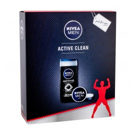 Nivea Men Active Clean, rinkinys dušo želė vyrams, (dušo želė 250 ml + Universal Men Creme 75