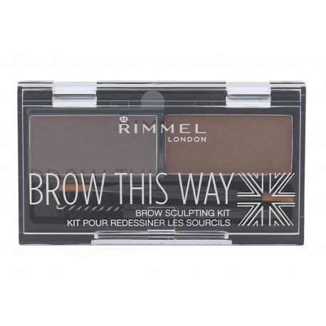 Rimmel London Brow This Way, dažų paletė antakiams moterims, 2,4g, (002 Medium Brown)