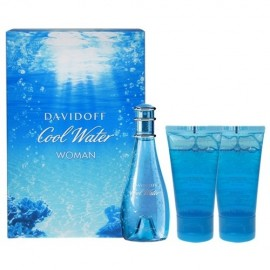 Davidoff Cool Water, rinkinys tualetinis vanduo moterims, (EDT 30ml + 50ml dušo želė + 50ml kūno