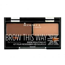 Rimmel London Brow This Way, dažų paletė antakiams moterims, 2,4g, (003 Dark Brown)